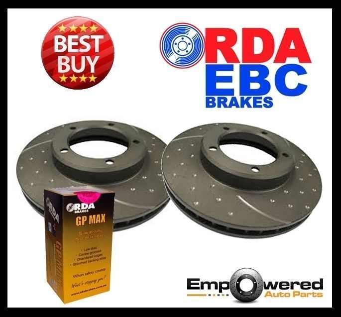 DIMPLED SLOTTED FRONT DISC BRAKE ROTORS+PADS for Chrysler Valiant CL CM 1976-81