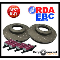 DIMP SLOT REAR DISC BRAKE ROTORS+ PADS for Volvo V60 T6 3.0 Turbo 4/2010-12/2015