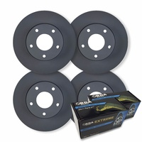 FULL SET DISC BRAKE ROTORS + H/D PADS for LANDROVER FREELANDER 2 2.2TD 2007-2012