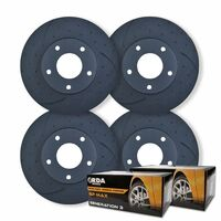 FULL SET DIMPLED SLOTTED DISC BRAKE ROTORS + PADS for Jeep Grand Cherokee WK WK2