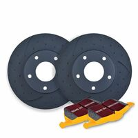 DIMPL SLOTTED FRONT DISC BRAKE ROTORS + PADS for BMW X5 F15 M50d 3.0TD 2013-2018