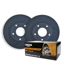 DIMPLED SLOTTED FRONT DISC BRAKE ROTORS+BRAKE PADS for Ssangyong Rexton RDA7456D