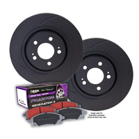 DIMPLED SLOTTED RDA FRONT DISC BRAKE ROTORS + PADS for BMW E30 323i 1982-1990