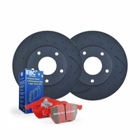 DIMP SLOT FRONT DISC BRAKE ROTORS+PADS for Volkswagen Golf V GTi 147Kw 2005-2009