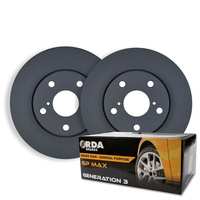 FRONT DISC BRAKE ROTORS + PADS & HUBS for Ford Falcon AU II III 3/2000-10/2002