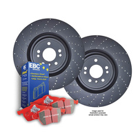 DRILLED FRONT DISC BRAKE ROTORS + PADS for Porsche Boxster S 3.4L 987 2009-2011