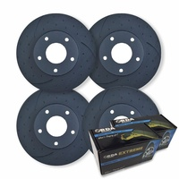 FULL SET DIMPLED SLOTTED DISC BRAKE ROTORS + PADS for Toyota Landcruiser HZJ105R