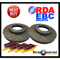 DIMPLED SLOTTED FRONT DISC BRAKE ROTORS + PADS for Ford Territory Turbo 2006-11
