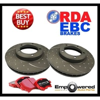 DIMPLED SLOTTED FRONT DISC BRAKE ROTORS+EBC PADS for Peugeot RCZ 1.6T 2009-15
