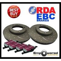 DIMPLED SLOTTED FRONT DISC BRAKE ROTORS+PADS for Peugeot 207 GTi *302mm* 2007-12