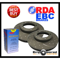 DIMPLED SLOTTED REAR DISC BRAKE ROTORS + PADS & SENSORS for Audi Q7 4.2TD 240Kw