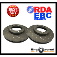 DIMPLED SLOTTED RDA REAR DISC BRAKE ROTORS for Porsche Cayenne *330mm* 2003 on