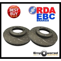 DIMPLED SLOTTED FRONT DISC BRAKE ROTORS for BMW E39 540i 10/2000-6/2003