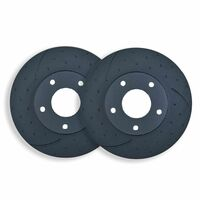 DIMPL SLOTTD FRONT DISC BRAKE ROTORS for Mazda 6 MPS 2.3L Turbo 2005 on RDA7492D