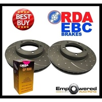 DIMPLED SLOTTED FRONT DISC BRAKE ROTORS+PADS for BMW X5 E53 2.9TD 7/2000-9/2003