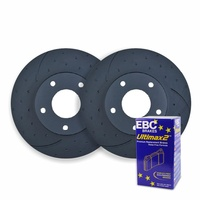 DIMPLED SLOTTED FRONT DISC BRAKE ROTORS+EBC PADS for Subaru Liberty 2005 onwards