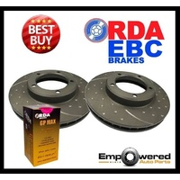 DIMPLED SLOT FRONT DISC BRAKE ROTORS+PADS for Jeep Wrangler 2.5L 1994-98 RDA96D