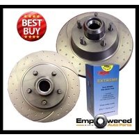 DIMPLED SLOTTED FRONT DISC BRAKE ROTORS + H/D PADS for Commodore VP V8 1990-1992