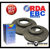 DIMPLED SLOTTED FRONT DISC BRAKE ROTORS+PADS for Subaru Liberty GT-B 2007-08