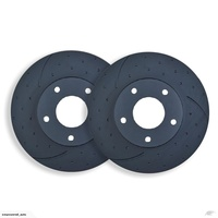 DIMPL SLOTTED FRONT DISC BRAKE ROTORS for Porsche Cayenne 4.8S 2007 on RDA7662D