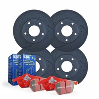 FULL SET DIMPLED SLOTTED BRAKE ROTORS+PADS for Nissan Silvia S14 S15 2.0L 94-04