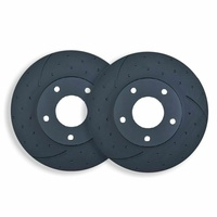 DIMPLED SLOTTED FRONT DISC BRAKE ROTORS for AUDI A7 4G 3.0TD 235Kw 2014 onwards
