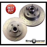 DIMPL SLOTTED FRONT DISC BRAKE ROTORS+PADS for Ford F150 2WD ABS & Non-ABS 97-03
