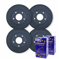 FULL SET DIMPLED & SLOTTED DISC BRAKE ROTORS+BRAKE PADS for Ford Falcon BA BF FG