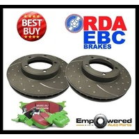 DIMPLED SLOT FRONT DISC BRAKE ROTORS+EBC 4X4 PADS for Jeep Wrangler 2.5L 1994-98