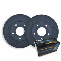 DIMPL SLOTTED FRONT BRAKE ROTORS + H/D PADS for Landcruiser 70 Series 8/1999 on