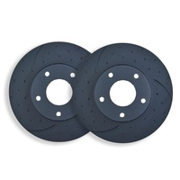 DIMPLED SLOTTED FRONT DISC BRAKE ROTORS for Porsche Cayenne 3.2L 2004-2007 PAIR