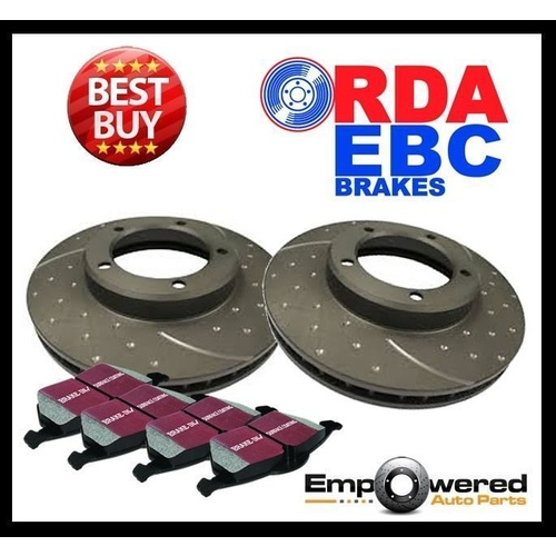 DIMPL SLOTTED FRONT DISC BRAKE ROTORS + PADS for Mercedes W166 ML250CDi 2011-15